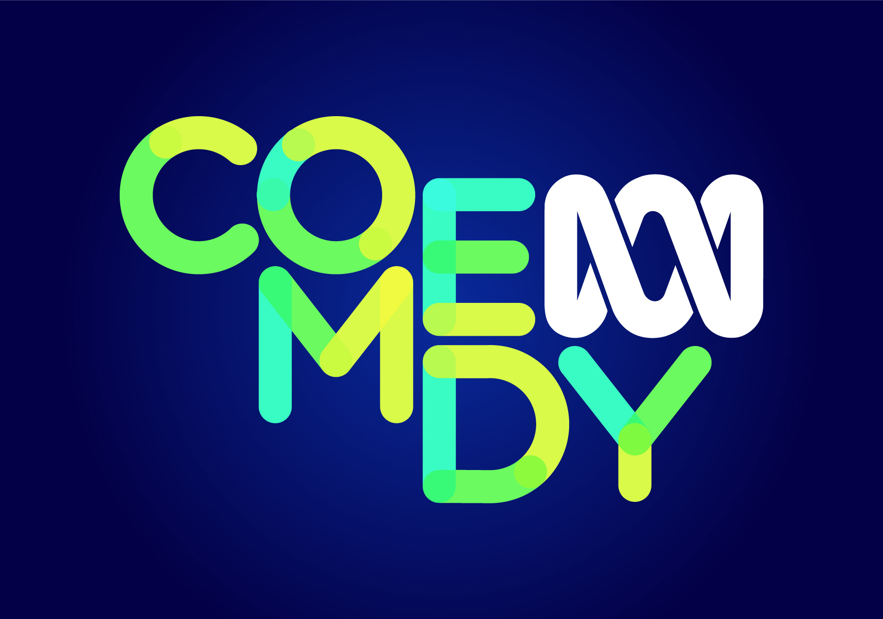 New ABC Comedy logo in detail (reversed)