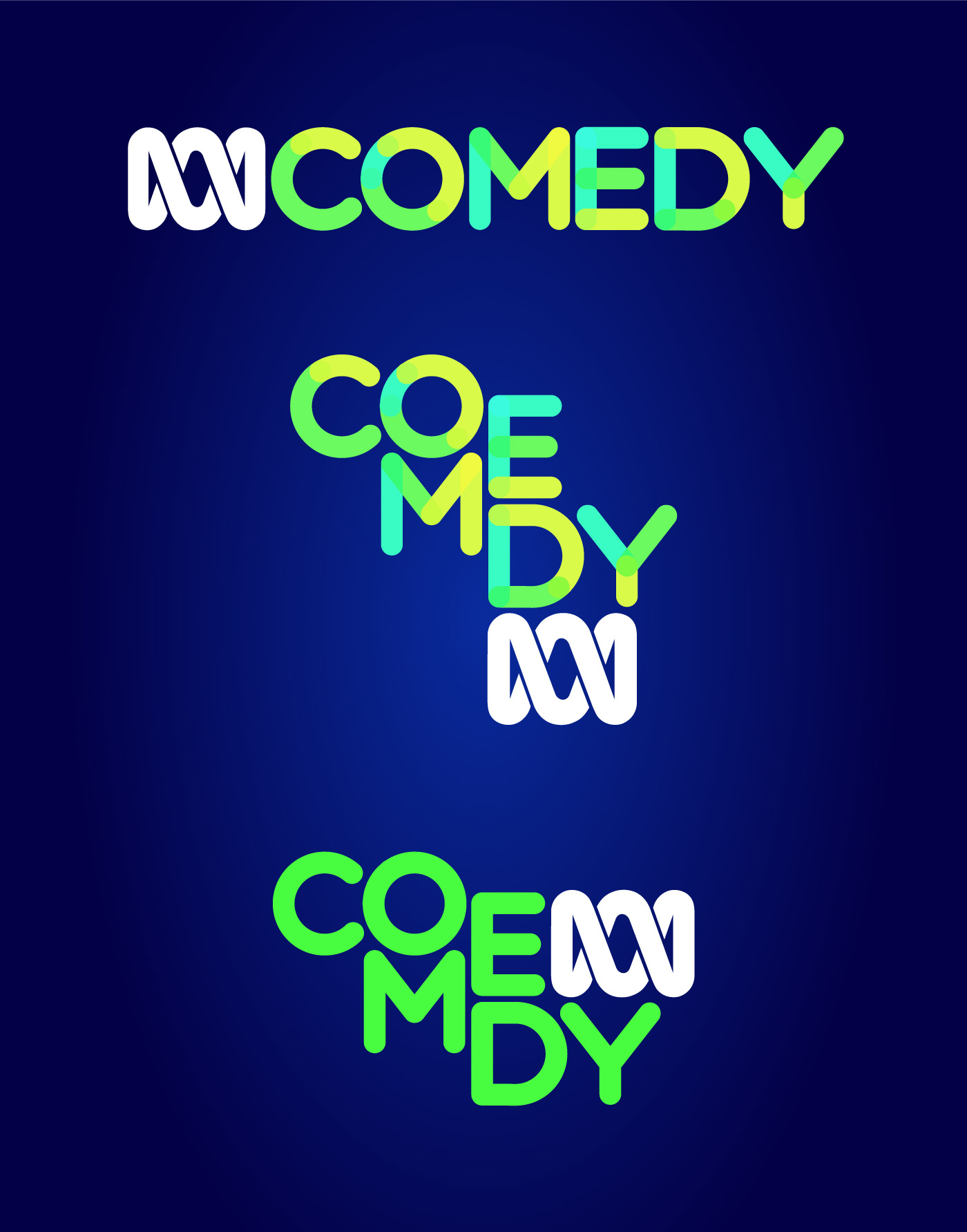 New ABC Comedy logo variants (reversed)